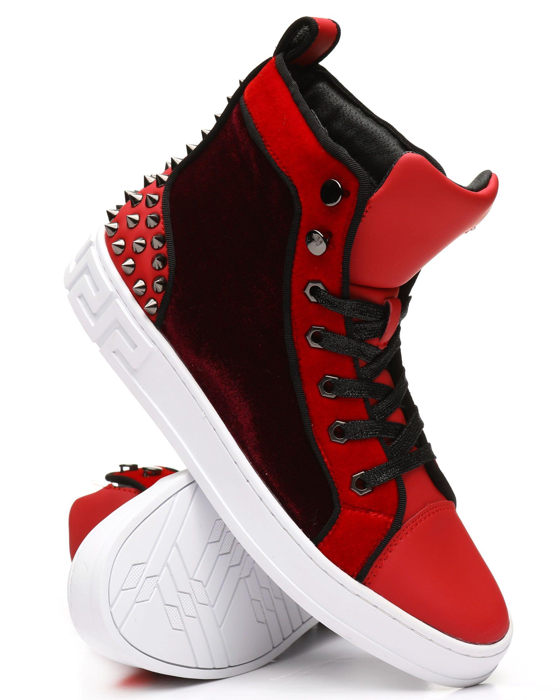 High Top Velvet Studded Sneakers from