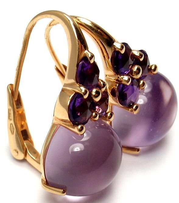 Pomellato Luna Amethyst Rose Gold Earrings   From a unique collection of vintage lever-back earrings at http://www.1stdibs.com/jewelry/earrings/lever-back-earrings/