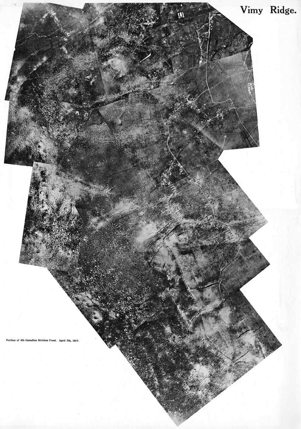 trench map an extract from a map of the vimy ridge area in mid aerial photograph of vimy ridge showing the front occupied by the 4th canadian division