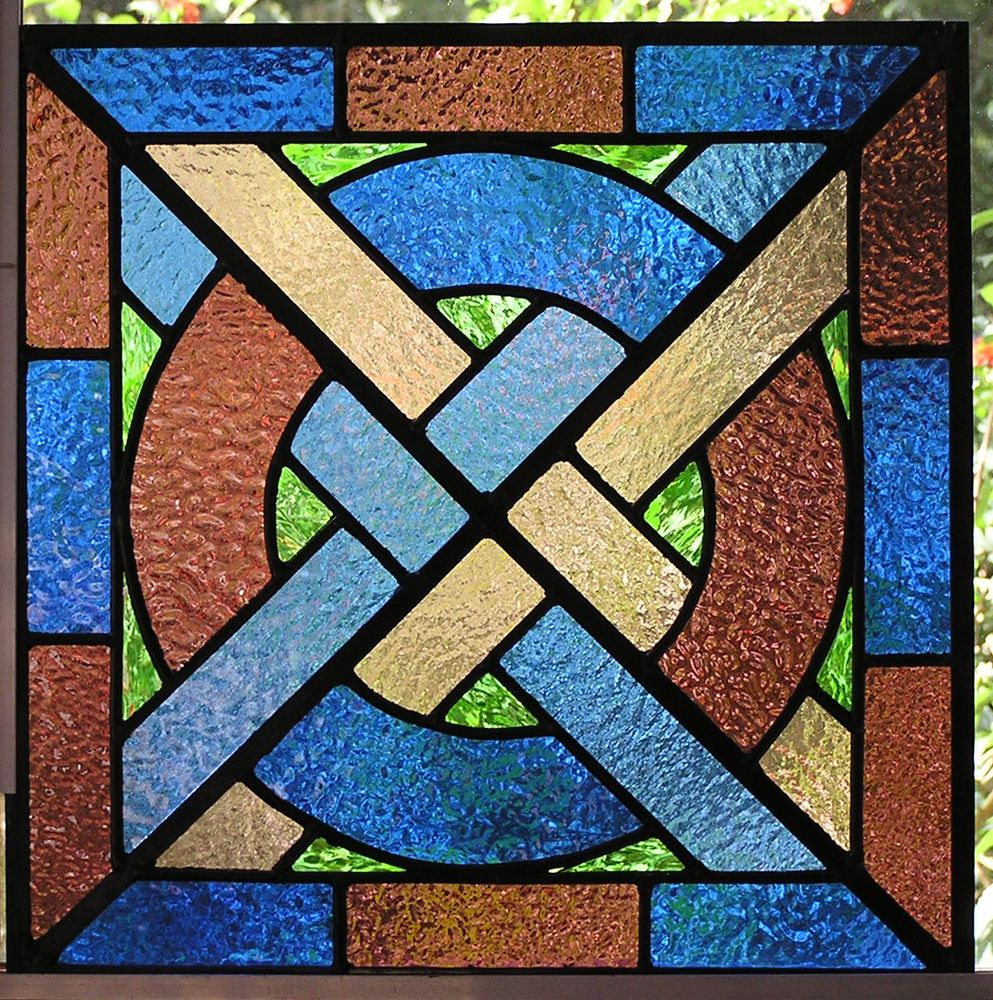 Ely Medieval Stained Glass Panel Blue Plum Green Inserts