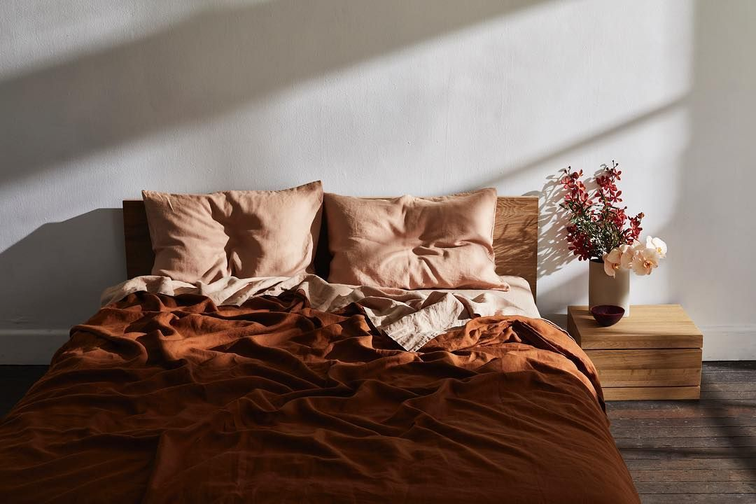 Bed Threads On Instagram Pictured Here Rust Terracotta Our Brand New Now Best Selling Hues Wi Bed Linens Luxury Linen Bed Sheets Bedroom Inspirations