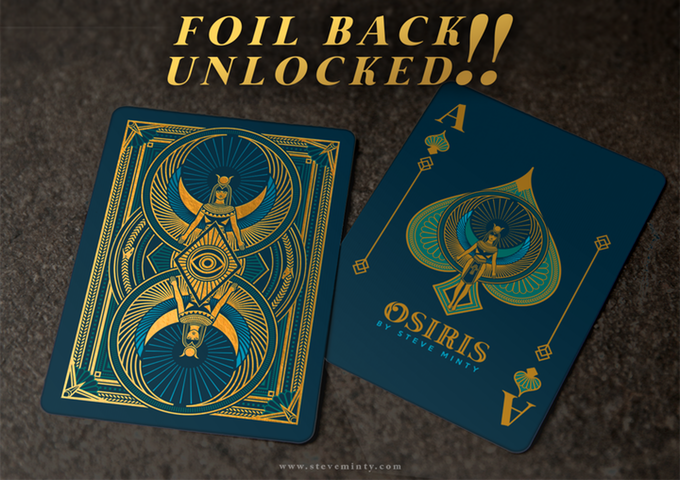ANUBIS and OSIRIS playing cards.  Limited edition custom luxury playing card decks designed by Steve Minty.  On Kickstarter.