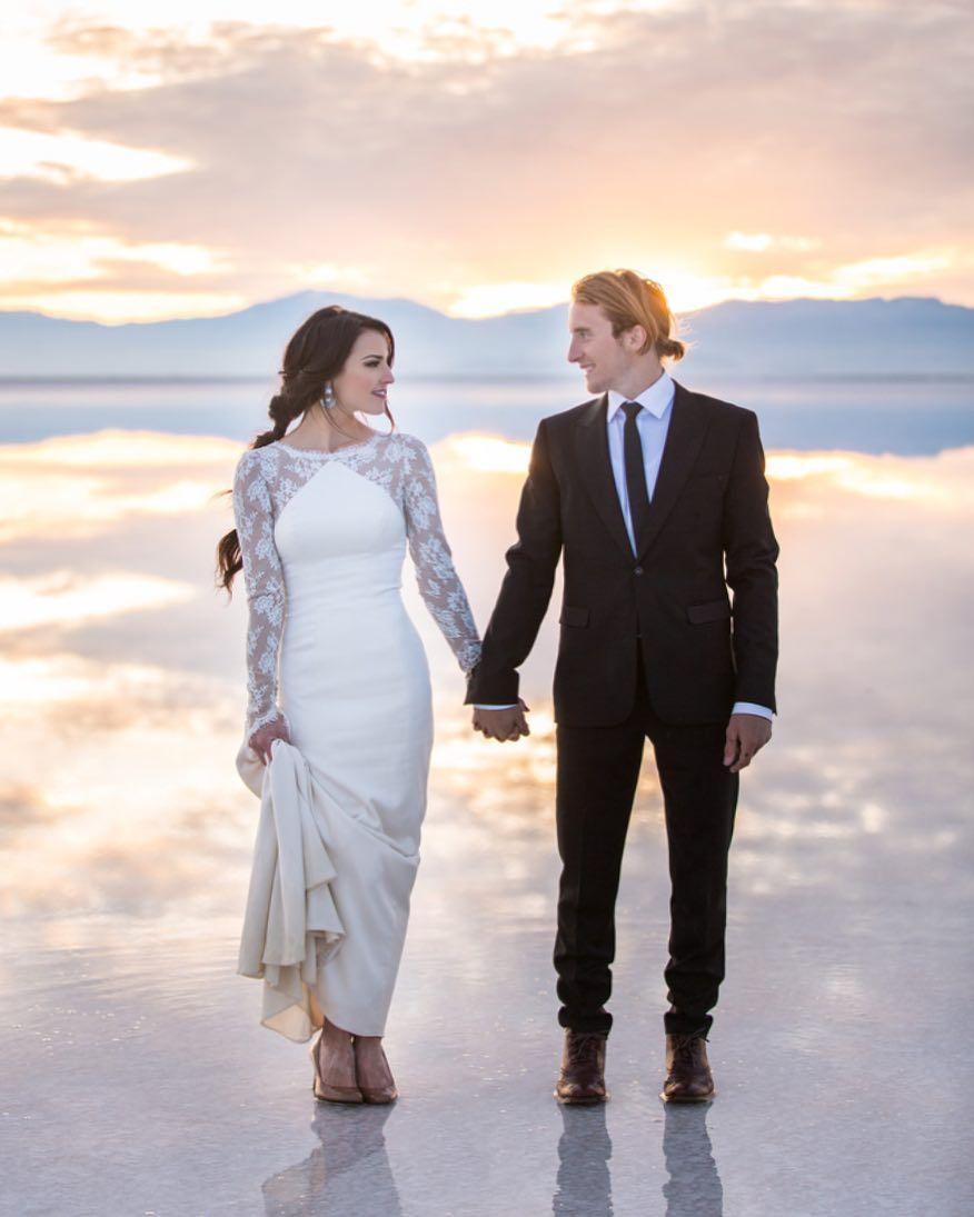 Unique Elegant Lace Wedding Dress Idea Lace Gown With Sheer