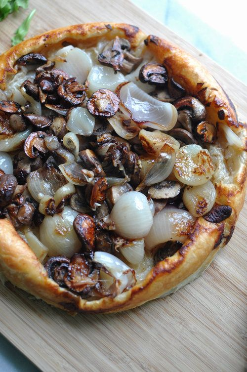 Shallot & Mushroom Tarte Tatin with Burrata | Shiny Happy Bright