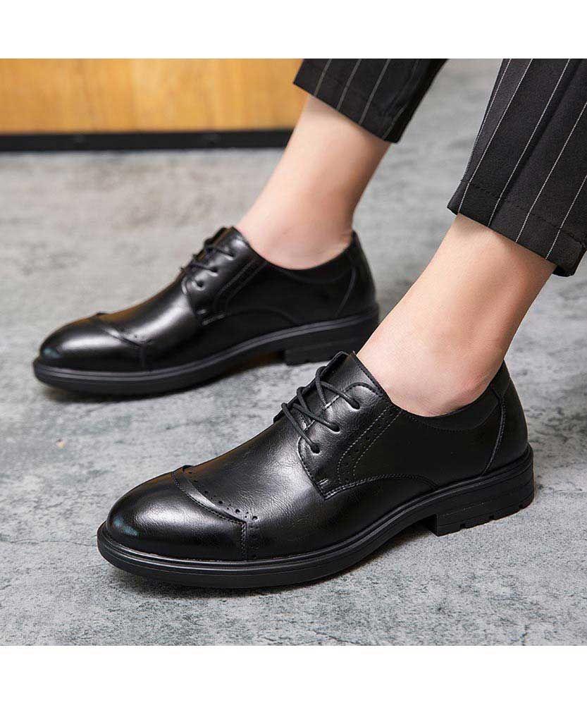 Black Brogue Leather Derby Dress Shoe Curved Toe In 2021 Black Brogues Dress Shoes Men Dress Shoes [ 1000 x 833 Pixel ]