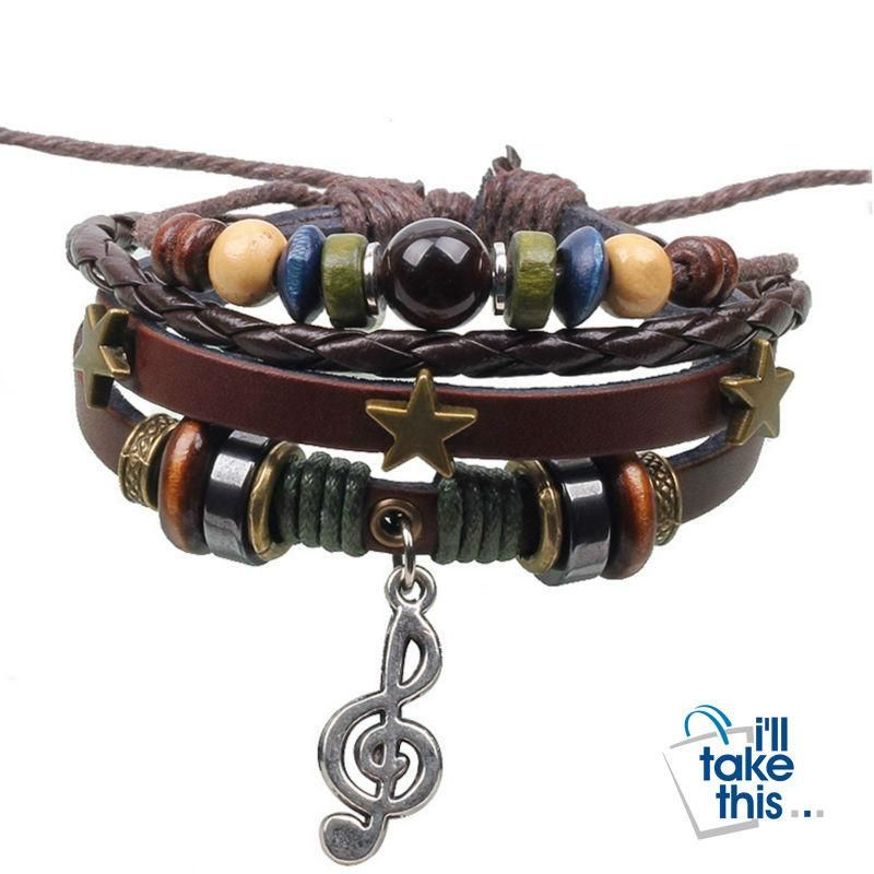 Leather Rope Wrap Bracelet, Punk Rock/Vintage Adjustable Layered Beads Charm Music Note Bracelets #musicnotes