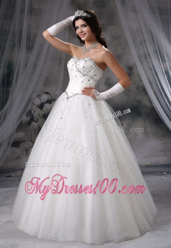 Beading Decorate Bodice Ball Gown Dress for Wedding with Gloves ...
