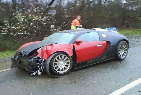 man hits a bugatti  Accident Damaged Cars First Bugatti Crash