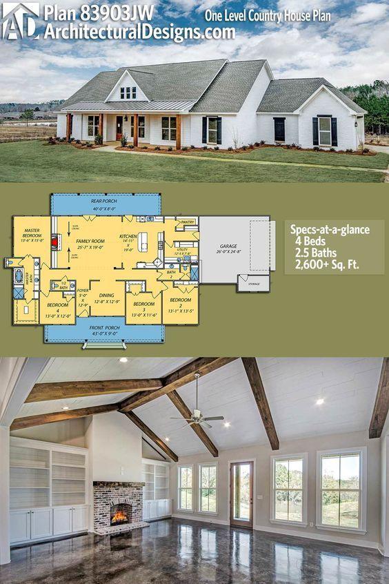 Architectural Designs House Plan 83903JW bietet Ihnen ein einstöckiges, modernes …   – House plans