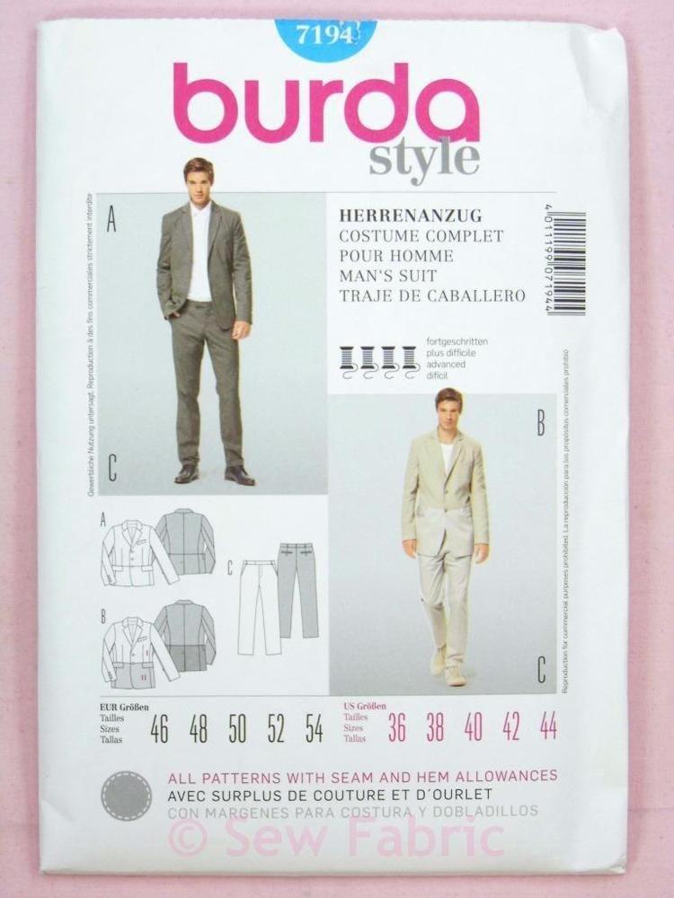 Burda 7194 Sewing Pattern - Mens/Gents Suit - Jacket/Blazer ...