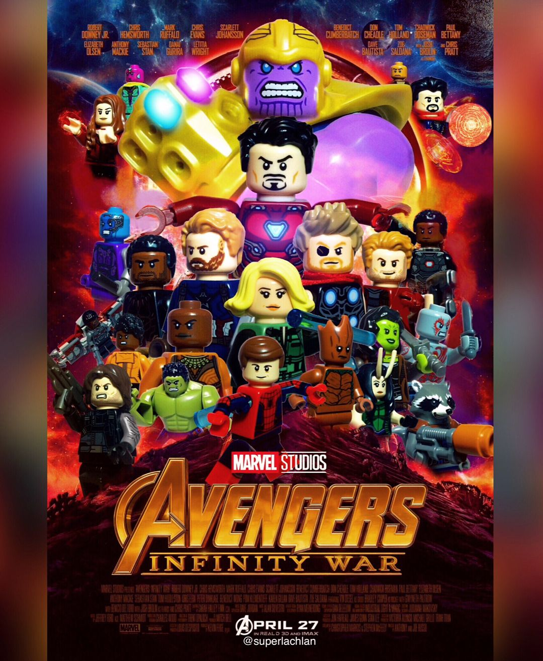 Avengers infinity war official movie poster in lego - Film lego marvel ...