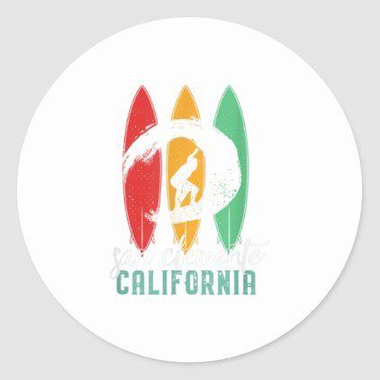 San Clemente Beach California  Vintage Summ Classic Round Sticker
