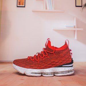 Mens Nike Lebron 15 XV Solar Red Black White Basketball Shoes  67f2fb20f