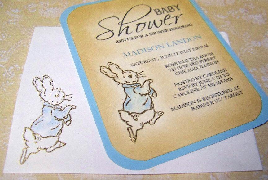 Beatrix Potter - Baby Shower Invitations - Peter Rabbit - Gold ...