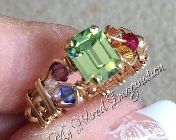 Crystal-Chakra Ring, Vintage Swarovski Chrysolite, 7 Chakra Heilung ...