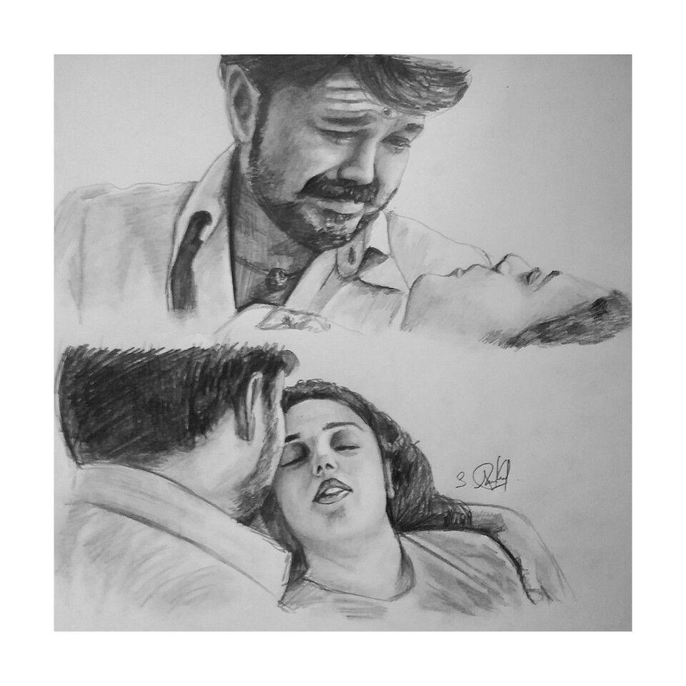 Mersal vijay love scene pencil drawing by arun shivam
