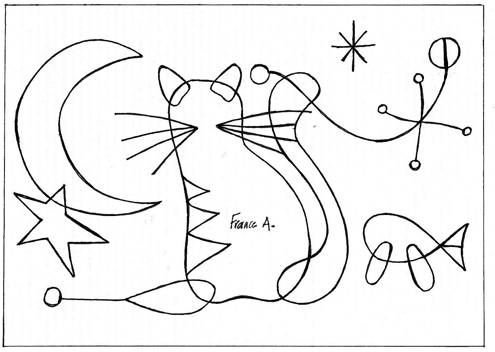 Chat fa on miro illustration marialucialeite pinterest for Paul klee coloring pages
