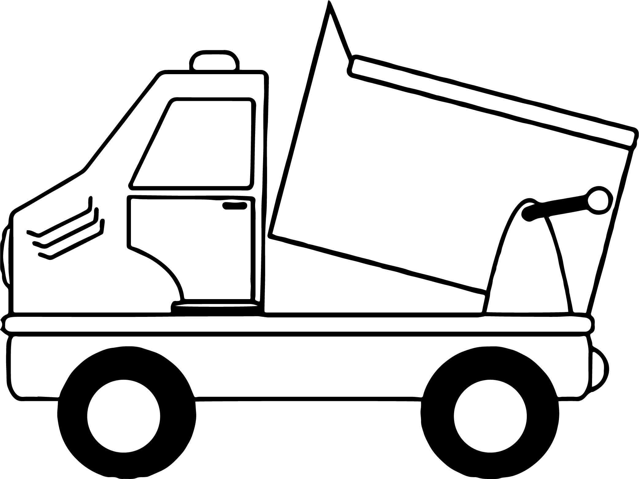 Cool Simple Cartoon Drawing Of A Dump Truck Coloring Page