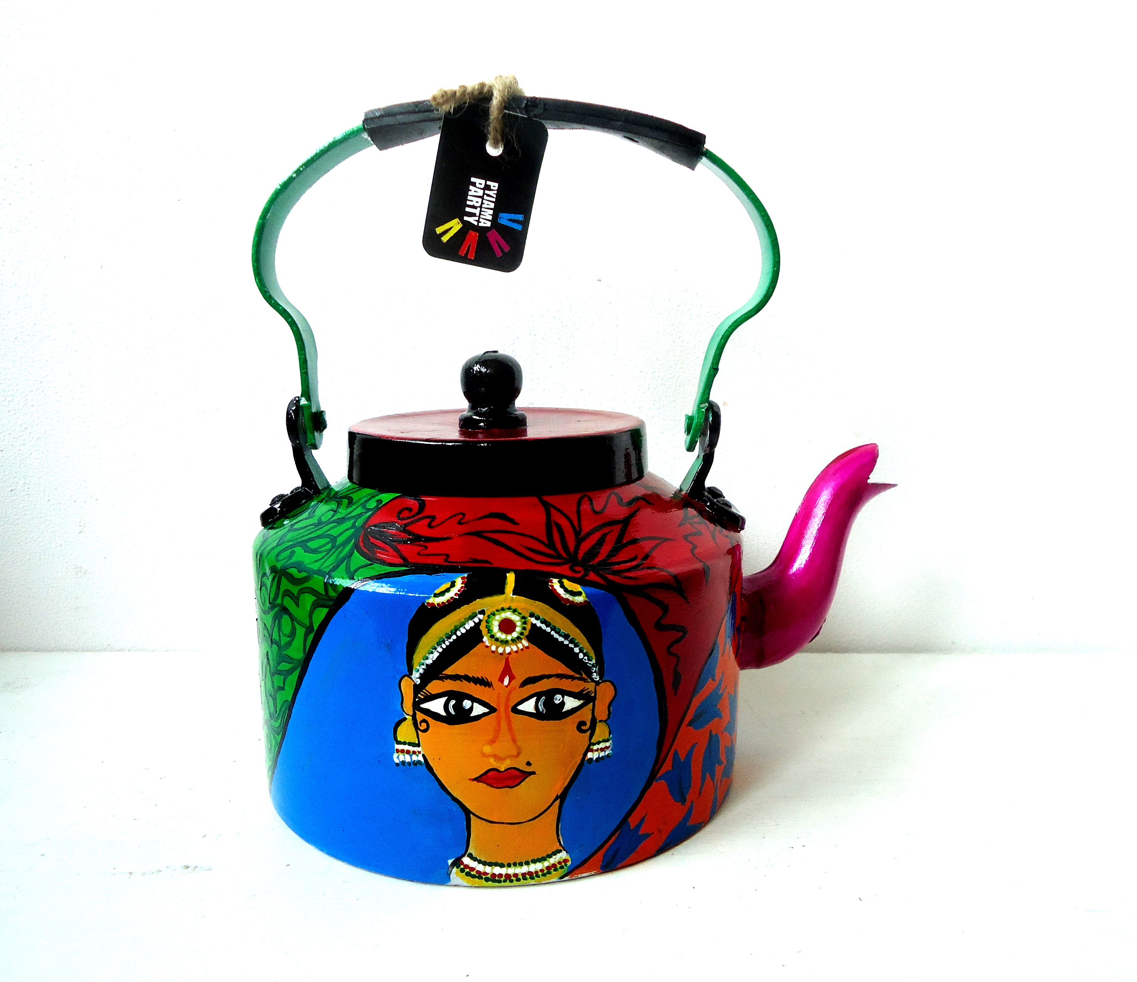 hand painted aluminium kettle  indybindi  pinterest  kettle  - indian dancer handpainted tea kettle why did i pin this because i'mseriously thinking of hand painting a teakettle to go with my decoreither black
