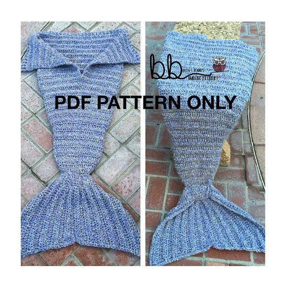 Mermaid Tail Blanket - PDF PATTERN ONLY - Crochet - Child Size ...