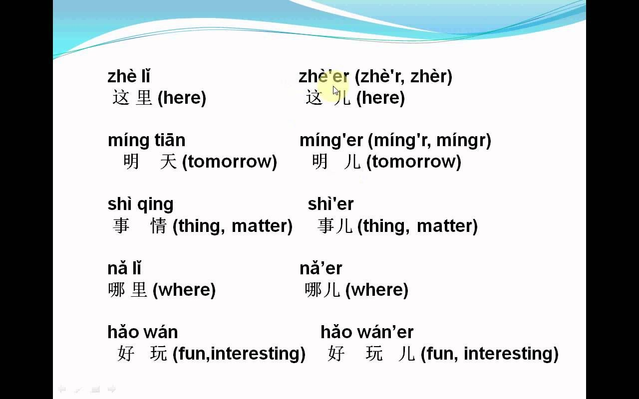 Mandarin Chinese-Lesson114--Er hua yin in ChineseHi, my dear friends. I just update my Chinese language Learning program. Please check the new lesson!   http://youtu.be/KlK6f-3lJ2U This lesson is about er hua yin in Chinese. You can find the text at: http://aboutthechineselanguage.blogspot.com/