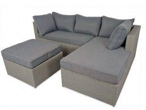 calabria grey rattan sofa set perfect rattan furniture for small gardens - Rattan Garden Furniture L Shape