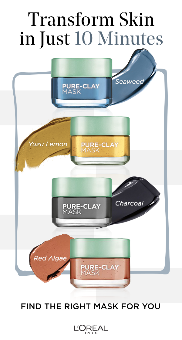 68a4a0a8627 The four Pure Clay masks from L'Oreal Paris. Seaweed clears and comforts.  Yuzu Lemon clarifies & smooths. Charcoal detoxes and brightens and Red Algae  ...