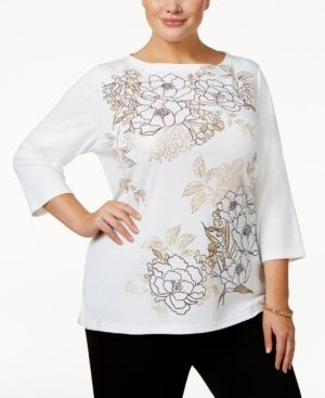 Karen Scott Plus Size Floral-Print Embellished Top, Only at Macy's - White 3X