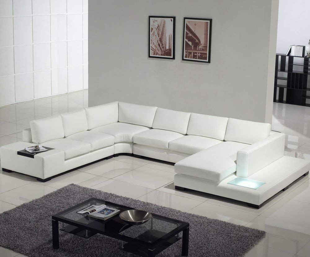 T35 White Bonded Leather Sectional Sofa Set With Light Modern Sofa Sectional White Leather Sofas Comfortable Sectional Sofa