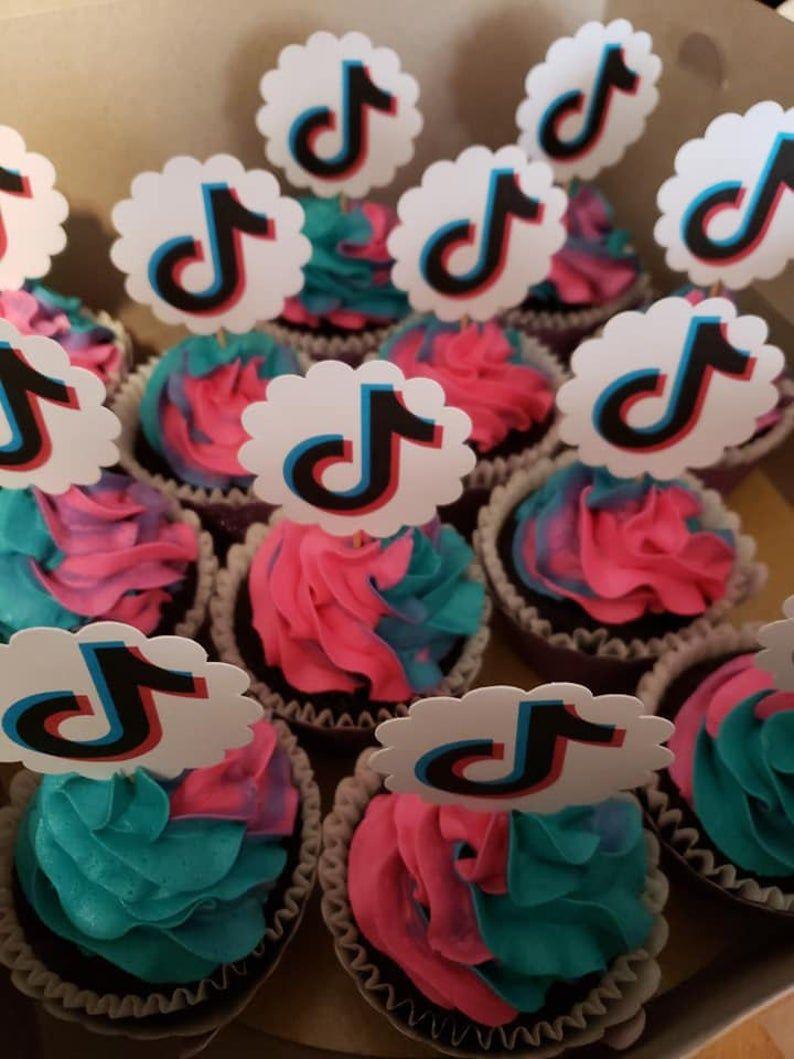 12 Piece Cupcake Toppers Tik Tok Theme Precut Scallop Shape Etsy Cute Birthday Cakes Happy Birthday Cakes My Birthday Cake