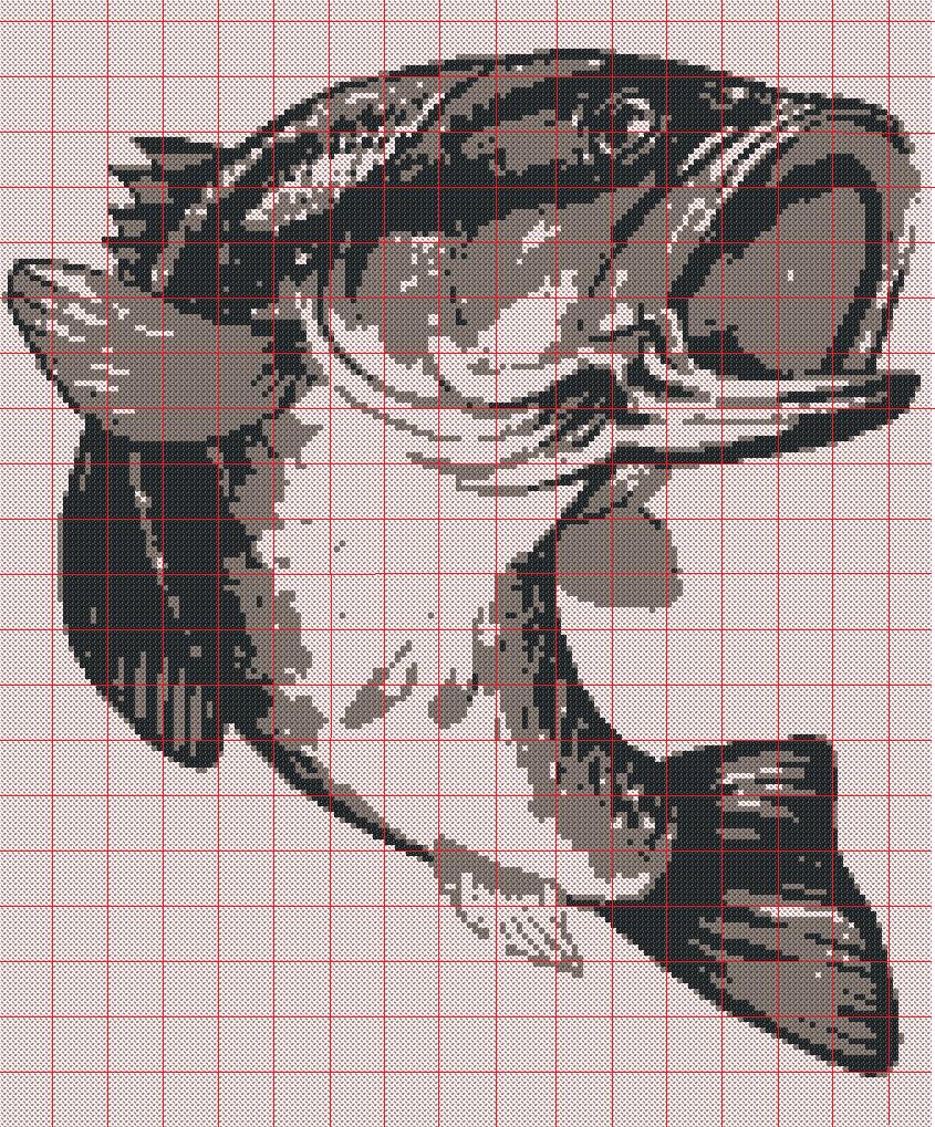 Bass fish cross stitch pattern | filet crochet | Crochet