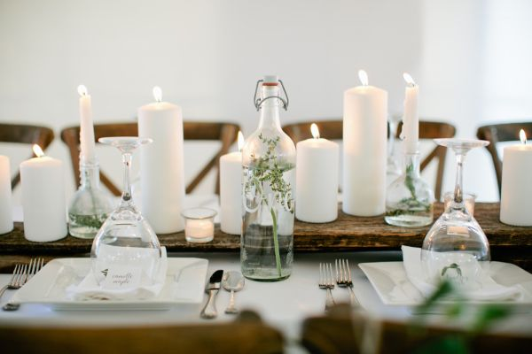 Wood And Pillar Candle Centerpiece Photography By Http Www Kristynhogan
