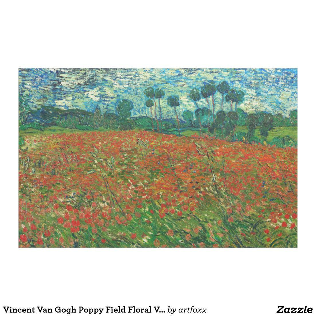 Vincent Van Gogh Poppy Field Floral Vintage Art Fabric Van Gogh