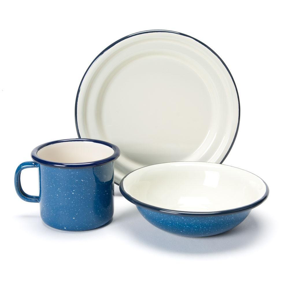 Enamel Cup Bowl Plate Set Plates