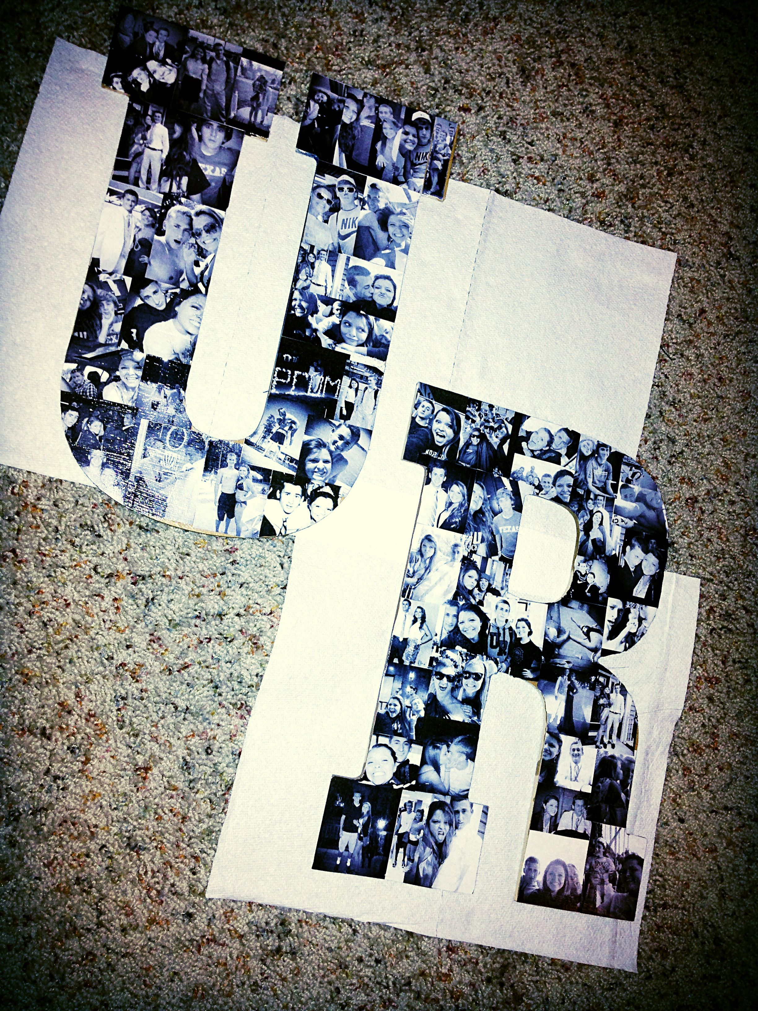 Mod podge pictures on wood letters UR for University of Richmond