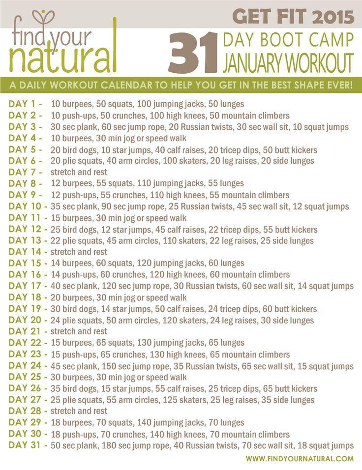 New January Workout Calendar  Workout Calendar Boot Camp Workout