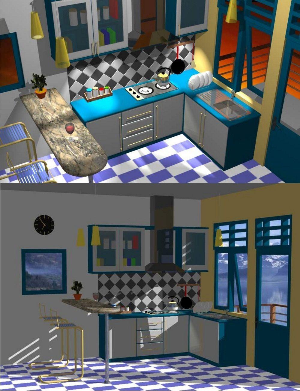 Layout Desain Meja Bar Di Dapur Rumah Gambar 1