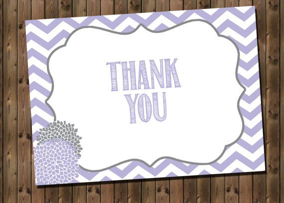 Lavender Baby Girl Shower Thank You Card INSTANT by RockStarPress, $7.00