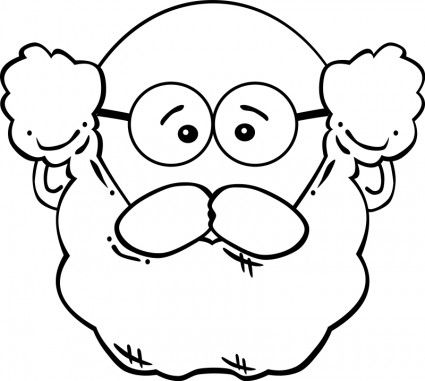 grandfather face clipart with glasses black and white