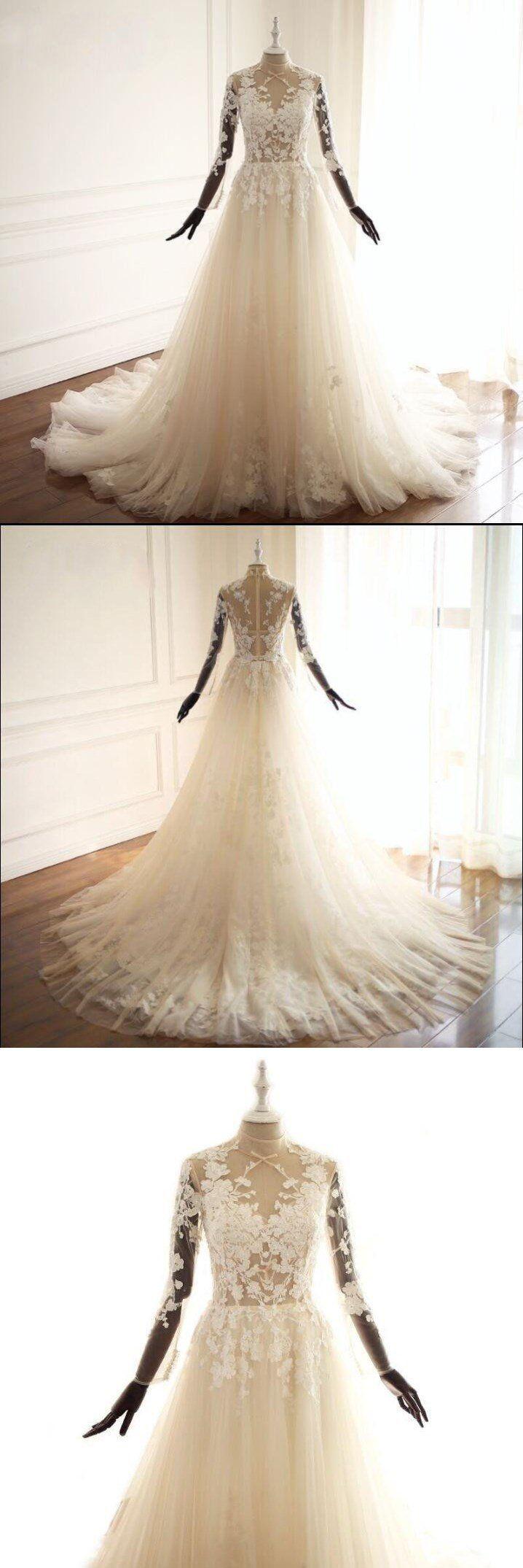 Long sleeves high neck seethrough sexy unique new design wedding
