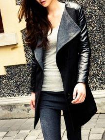 Fashion Ladies Splicing Color Block Bodycon Woolen Coat