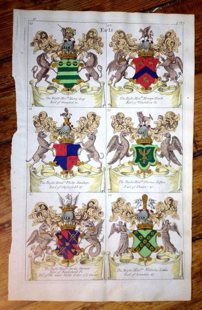C 1679 Display Of Heraldry Original Antique Print Coat Of Etsy Coat Of Arms Heraldry Antique Prints