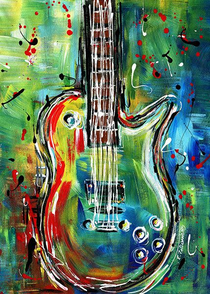Guitar Original Painting Musical Instrument By