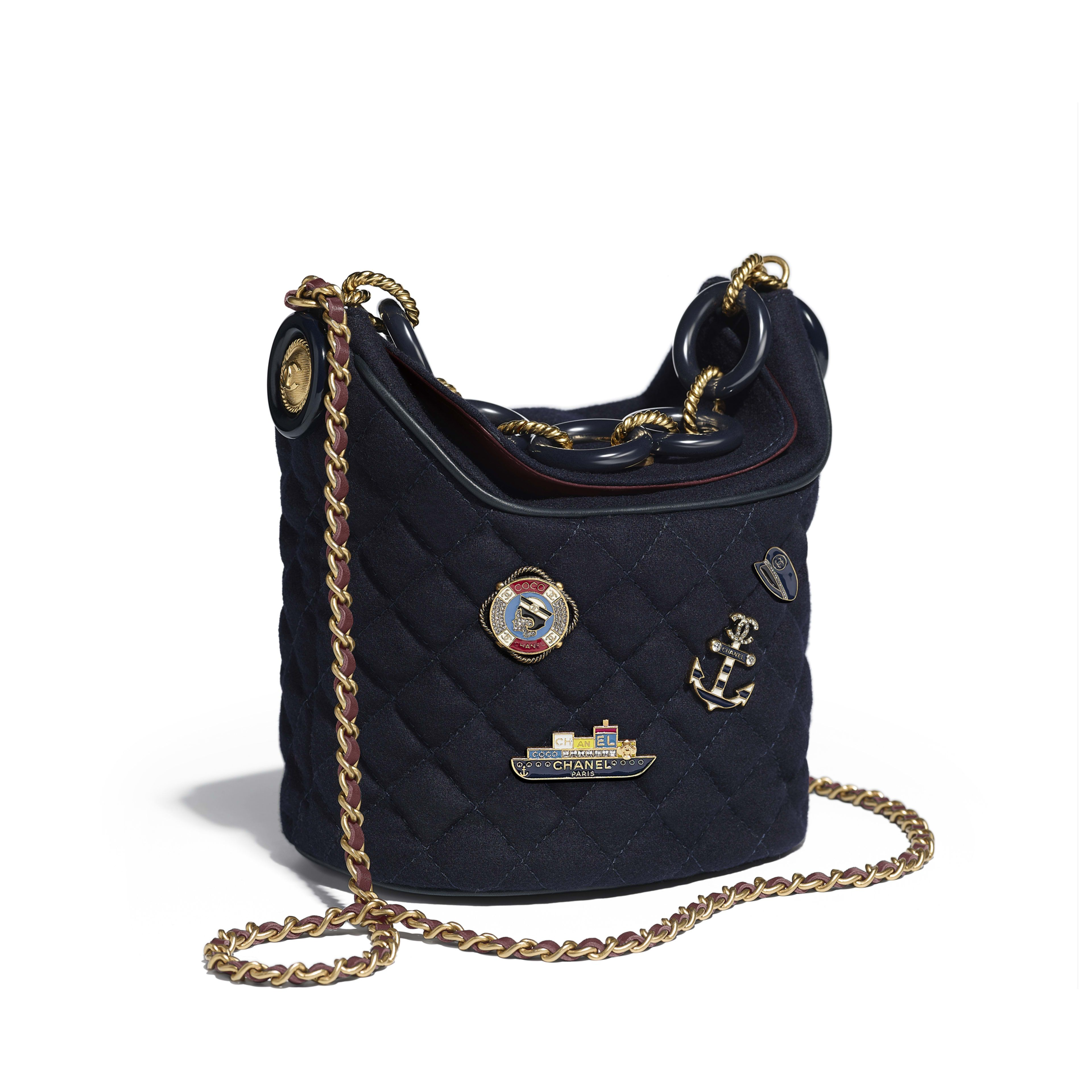 76a13ab870b7 Bucket Bag Wool, Lambskin, Charms & Gold-Tone Metal Navy Blue - view 1 -  see full sized version