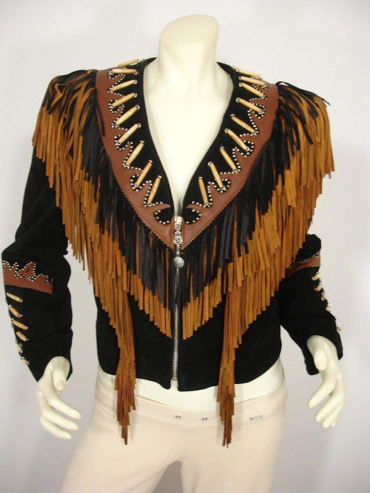 Women Black-Brown Cowhide Leather Vest Ladies Native Fringe Studded Western Wear