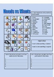 Needs and Wants Worksheet | needs vs wants helps students ...