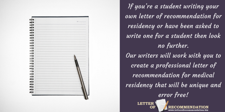 Reliable Residency Letter Of Recommendation Professional Help Is