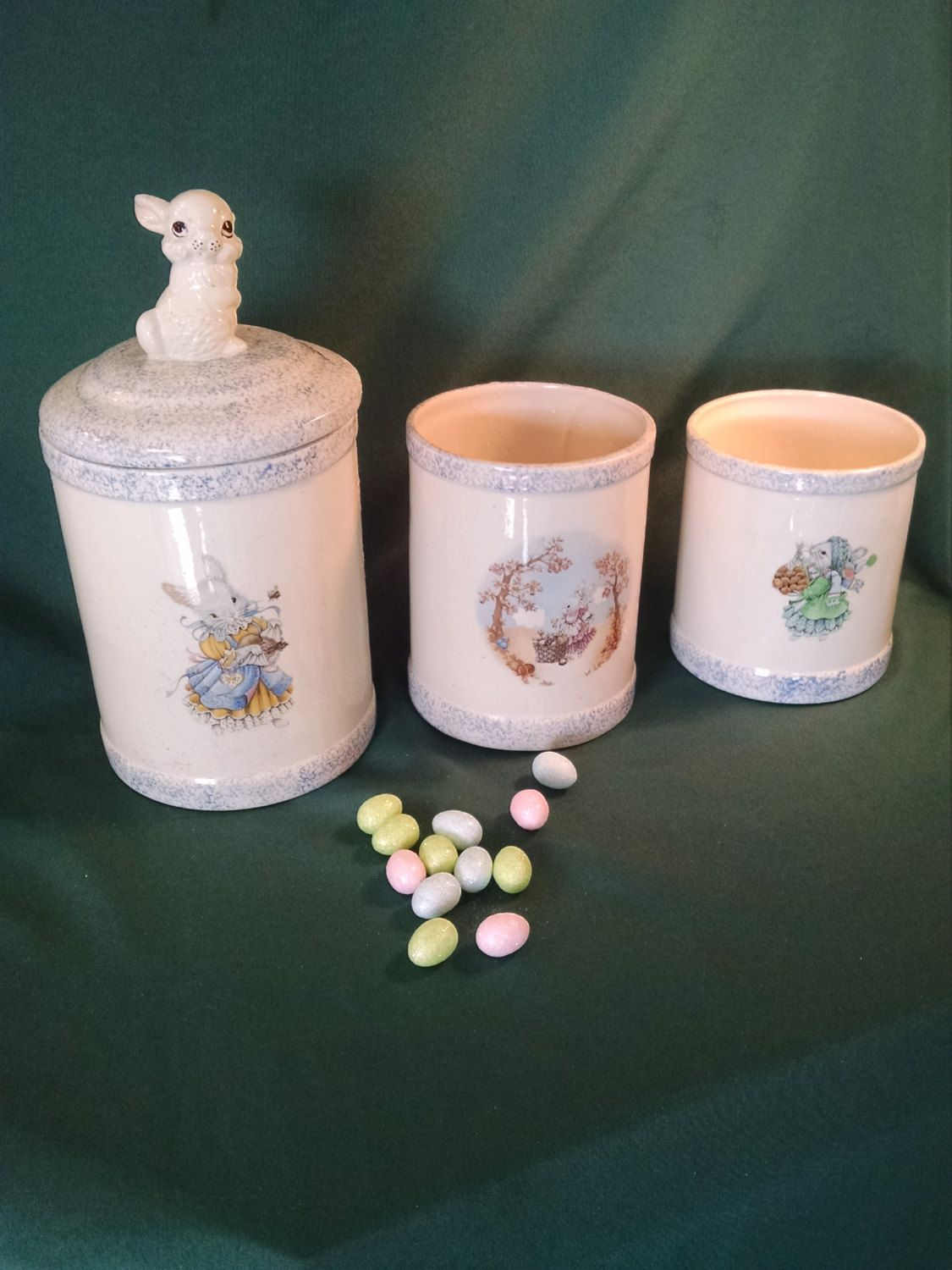 Beau Vintage Kitchen Canisters, Rabbit Canisters, Easter Bunny Canister, Ceramic  Containers, Ceramic Canisters