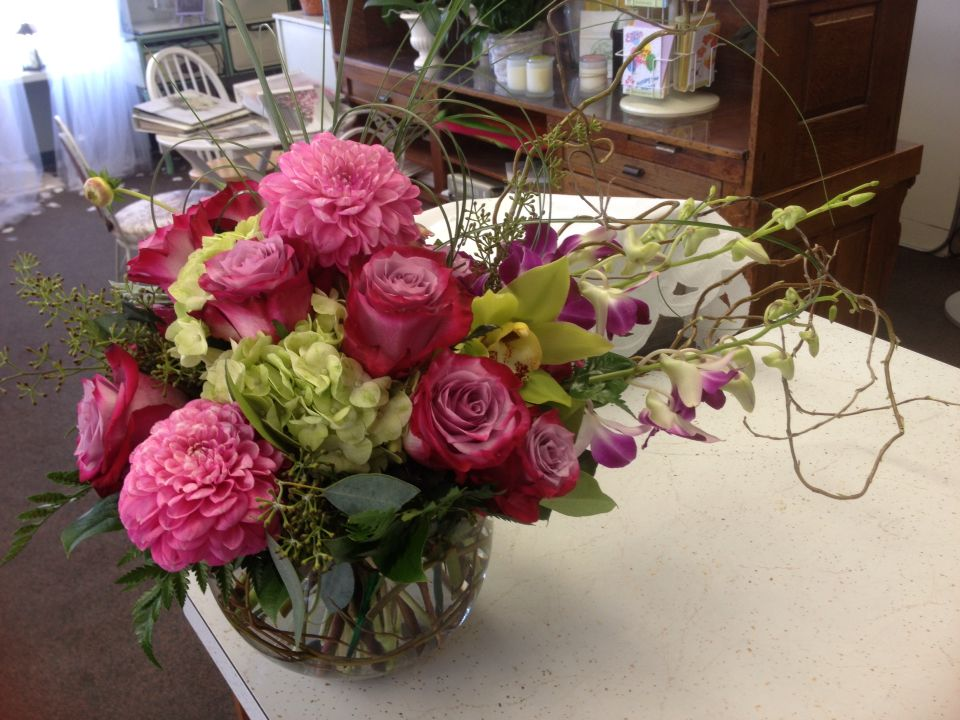 Dahlias, hydrangea, roses and orchids