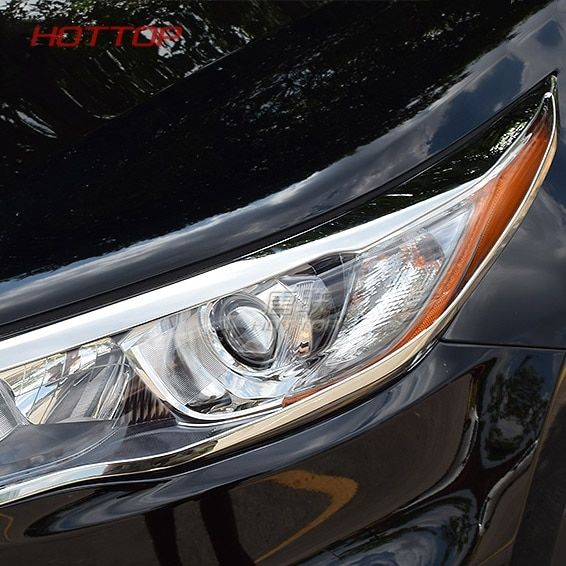 front head Light lamp hood Molding detector frame stick cover for Toyota Highlander 2015 2016 2017 2